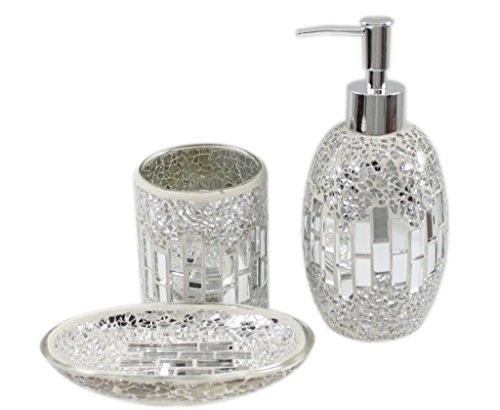 Show Me Cheaper 3 Piece Modern Silver Chrome Sparkle Mosaic Glass Tile Bathroom Accessory Set