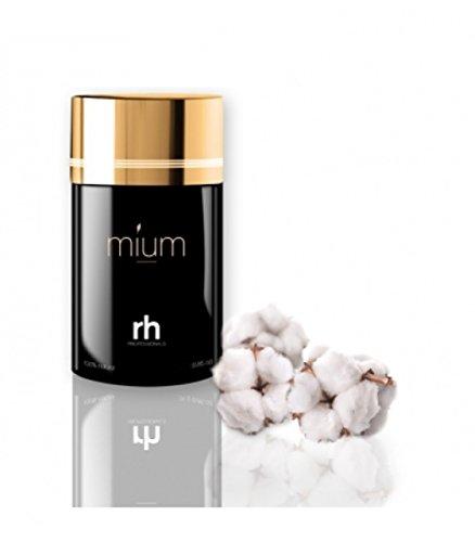 MIUM Premium Schütthaar Streuhaar Haarfasern - Sofort Haarverdichtung bei lichtem oder feinem Haar, 100% Natur, 10g Hellbraun
