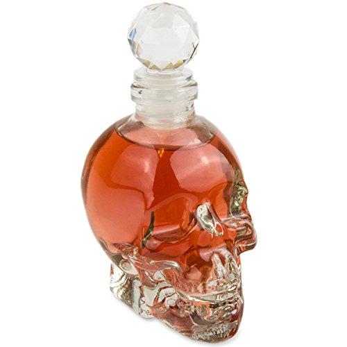 Blue Fox Skull - Flasche (125 ml) für die Hausbar, Party, Totenkopfdesign, Vodka, Whiskey, Flasche,...