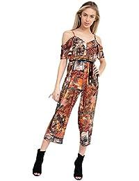 72e0823f3109 Islander Fashions Women s Strappy Cold Shoulder Floral Print Crepe Wide Leg  Belted Ladies Jumpsuit 6-