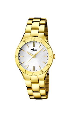 Lotus Women's Quartz Watch with Silver Dial Analogue Display and Stainless Steel Gold Plated Bracelet 15897/1