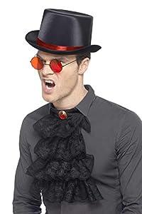Smiffys-45608 Kit gótico, con Sombrero de Copa, Gafas y Gola, Color Rojo y Negro, Tamaño único (Smiffy