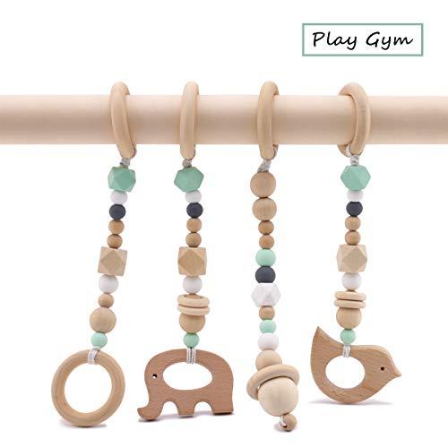 Best for baby BPA Frei Hölzern Rings Baby Gym Spielzeug Beißring Silikonperlen Tier Anhänger Rasseln Organisch Schutz Geschenk Baby Sportgerät Fitnessstudio Gymnastik Spielzeuge -