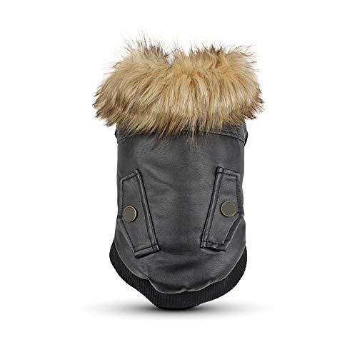 ZZZM Hundemantel und Jacke, Winterweste aus Leder, kaltes Wetter, Retro-Kostüm, für Katzen, Schwarz, - Leder Jacke Katze Kostüm