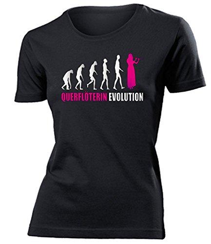 love-all-my-shirts QUERFLÖTERIN Evolution 4589 Damen T-Shirt (F-SW-Weiss-Pink) Gr. S