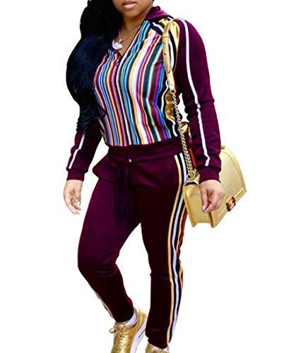 Gocgt Damen Jogginganzug, langärmlig, Lange Hose, Trainingsanzug, 2-teiliges Set Gr. X-Small, weinrot