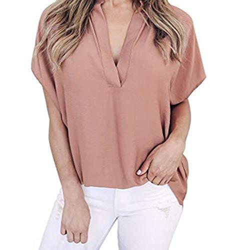 Top Bluse Bequem Lässig Mode T-Shirt Blusen Frauen Chiffon Kurzarm Freizeithemd Tops Bluse T-Shirt(Rosa, S) ()