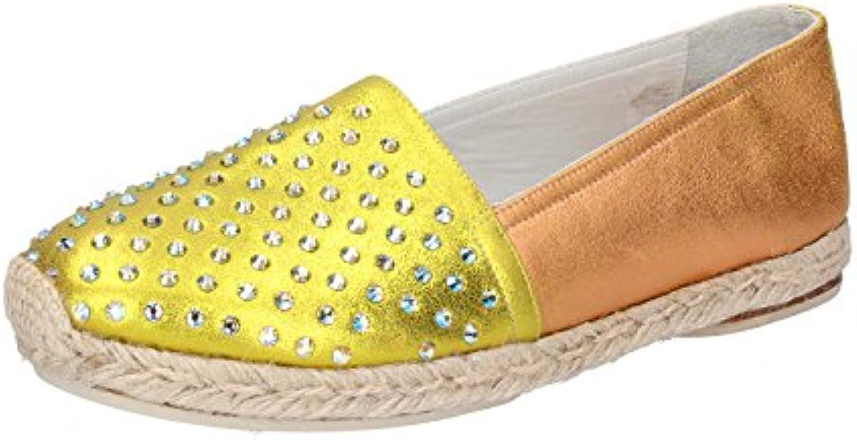 Zapatos Mujer Eddy Daniele 37 Espadrillas Naranja Amarillo Strass AX641