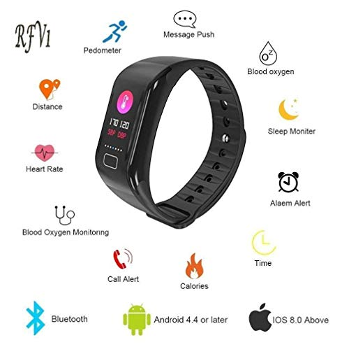 RFV1(tm) GetFit-3.0 Smart Fitness Band Blood Pressure Oxygen Heart Rate Monitor Smart tracker Waterproof Bluetooth Smart Bracelet with GPS Fitness Tacker(Black)