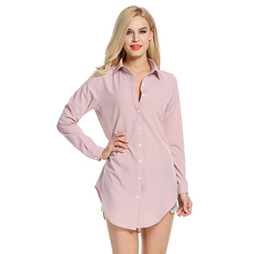 bluetime Frauen lange Ärmel Umlegekragen Shirt Kleid Button Front lose Casual Mini Kleid Gr. 46, rose (Front Shirt Button Dress)