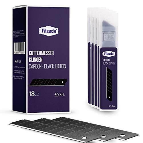 Filzada ® 50x Cuttermesser Klinge 18mm - Abbrechklinge/Messerklinge Carbonstahl - Black Ultrascharf
