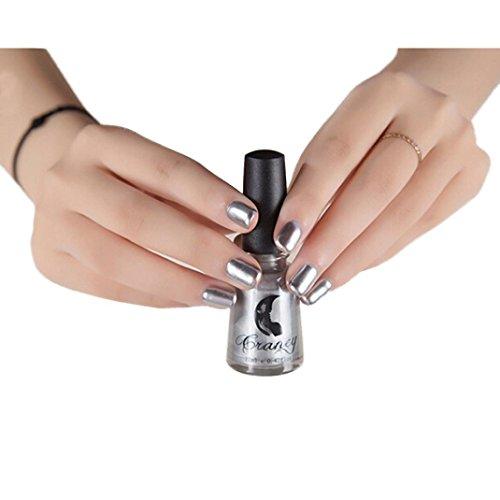 Arte de Uñas,Tefamore Espejo Esmalte de Uñas Cola de Plata Metal Color Acero Inoxidable (Plata)