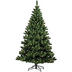 Forever Green 958934 Auburn künstlicher Weihnachtsbaum, H 150 x D 110 cm, PVC, inklusive 150 LED Lichter, 394 Spitzen Metallständer, grün