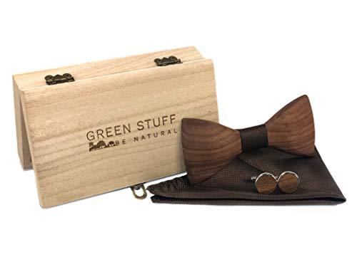 GREEN STUFF Björn - Das Öko Holzfliegenset - handgefertigt aus Walnussholz mit passenden Manschettenknöpfe und Einstecktuch |1 VERKAUFTES PRODUKT = 1 GEPFLANZTER BAUM| ([Braun])