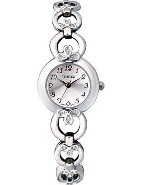 Time100 rundes Zifferblatt Damenuhr Edelstahl Armbanduhr mit Hakenschloss Quarz Analog Weiß #W50053L.01A