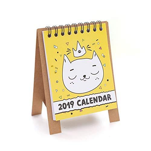 Schreibtischkalender 2019 Desktop-Kalender - Stand Alone Desk Office-Tischkalender, Schuljahrplaner, beginnt jetzt, bis Dezember 2019, Cartoon-Design (A) (Stand Kalender)