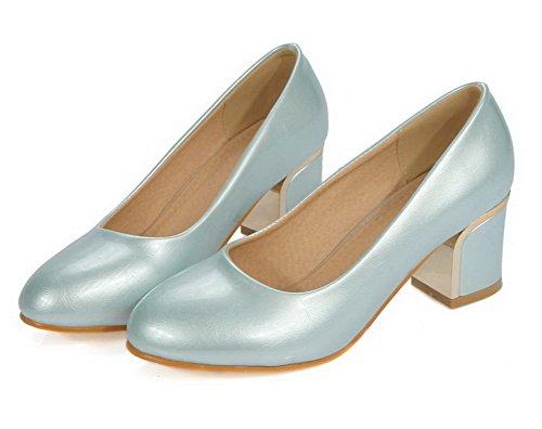 VogueZone009 Femme Rond à Talon Bas Matière Souple Couleur Unie Tire Chaussures Légeres Bleu