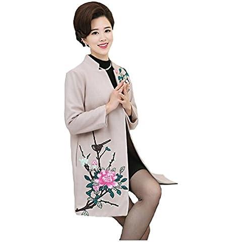 Cocominibox Le donne elegante cappotto caldo ricamato floreale lana Trench intaglio