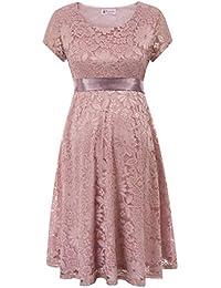 Maacie Schwangere Frauen Rundausschnitt Lace Party Ball Kleid