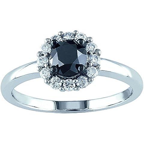 1,20carati bianco e nero diamante Halo Anello Set