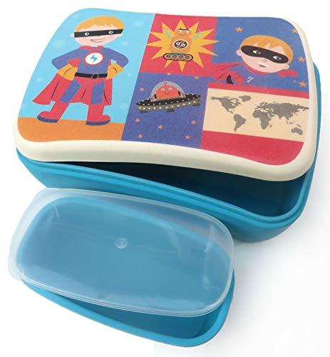 Buabi Conjunto Sandwichera y Tupper de bambú. Material ecológico sin BPA, Apto para lavavajillas. Lonchera Infantil, niños, bebé (Superhéroe)