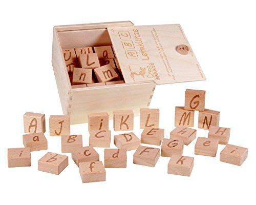 CreaBLOCKS ABC-Lernklötze 26 Buchstaben-Klötze mit Satzzeichen, unbehandelt Made in Germany (Abgerundete Alphabet-buchstaben)