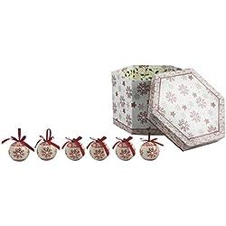 Galileo Casa Noel Set 14 Palle Decorazioni di Natale, Plastica, Bianco/Rosso, 7x7x7 cm