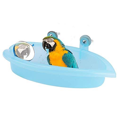HEEPDD Prächtig Vogelbad mit Spiegel, hellblaues Papageienbad für Sardellen, Sittiche, Papageien, Nymphensittich