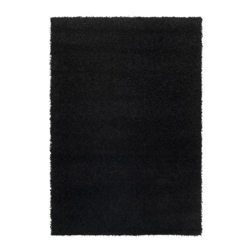Ikea Hampen - Alfombra, Pelo Largo, Negro - 133x195 cm