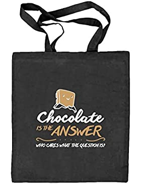 Shirtstreet24, Chocolate Is The Answer, Natur Stoffbeutel Jute Tasche (ONE SIZE)