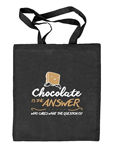 Shirtstreet24, Chocolate Is The Answer, Natur Stoffbeutel Jute Tasche (ONE SIZE) schwarz natur