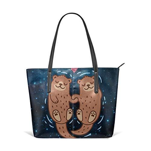 Otter-laptop-tasche (PecoStar Einkaufstasche für Damen, zwei Backstroke Otters Damen große Kapazität Einkaufstasche PU Leder Tragegriff Taschen Schultertaschen)