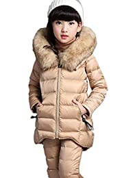 cb66f55485ffc Anguang Kids Toddler Girl's Set 3Pcs Hooded Parka Coat Jacket with Faux Fur  Collar + Long Sleeve T-Shirt + Pants…