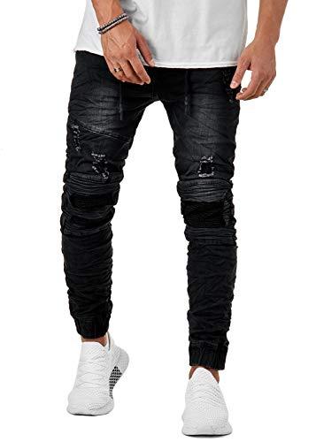 EightyFive Herren Destroyed Jeans Biker Hose Slim Fit Zerrissen Schwarz EF6036, Farbe:Schwarz, Hosengröße:W30 L32
