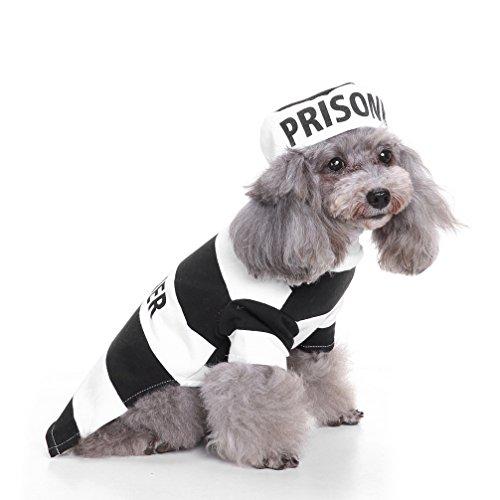 ranphy Wachhund, Prisoner Dog Pet Halloween-Kostüm Streifen Shirt Puppy Outfit Chihuahua Kleidung Fleece gefüttert Fancy mit Hat