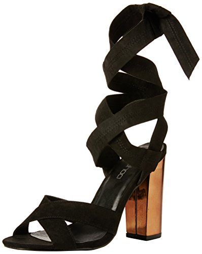 Boohoo Ella Block Heel Cross Front Wrap Strap, Damen Pumps, Schwarz (Schwarz), 39 EU (6 UK)