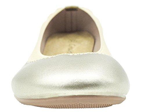 Greatonu Damen Geschlossene Ballerinas Ballett Flach Schuhe Gold