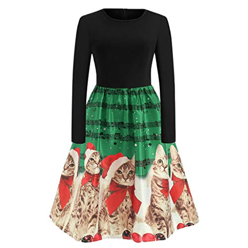 (UJUNAOR Frauen Retro Hinweis Kleiden Weihnachten Kätz Print Langarm Kleid Schulterfreie Knie Rock(Grün,EU XS/CN S))