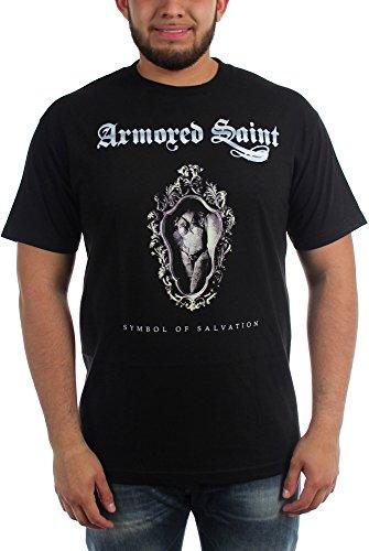 Armored Saint-T-Shirt da uomo con simbolo della salvezza nero Large