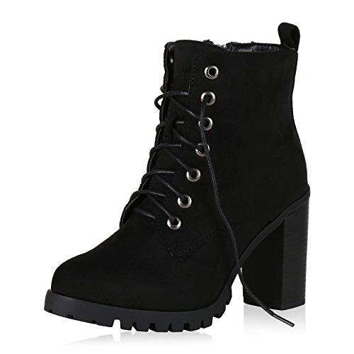 Schnürstiefeletten Negro Jennika Block Schuhe Boots Worker 4ARj5L