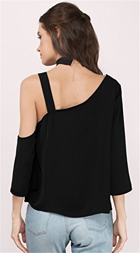 Sexy Épaules Asymétrique Épaules Dénudées Épaule Dénudée à Découpes Manches 3/4 Blouse Chemisier T-Shirt Haut Top Noir Noir