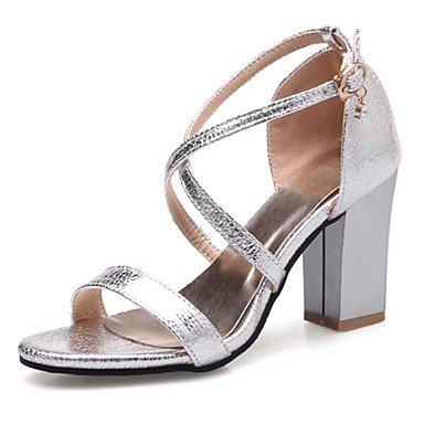 LvYuan Sandalen-Kleid Lässig-PU-Blockabsatz-Komfort-Schwarz Rosa Silber Gold Pink