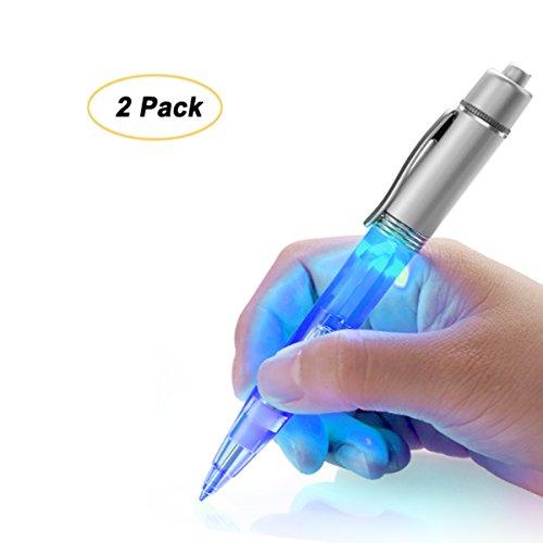 Preisvergleich Produktbild Glowseen LED-Licht Stift Light up Pen Licht für Nacht Schriftsteller mit extra Stift Minen,2per-pack, Blau