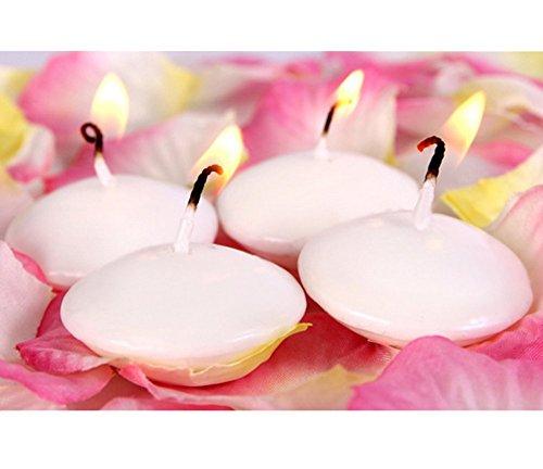 Distinct® Velas flotantes 4pcs se dirigen la decoración de la Boda del cumpleaños del Partido Dedals Cera de parafina Velas de Agua (Blanca)