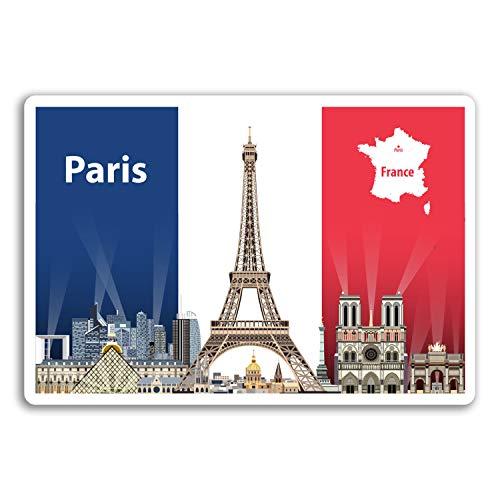 2 x 10 cm Paris Frankreich Vinyl Aufkleber - Flaggen-Reise-Aufkleber Laptop Gepäck # 17968 (10 cm breit)