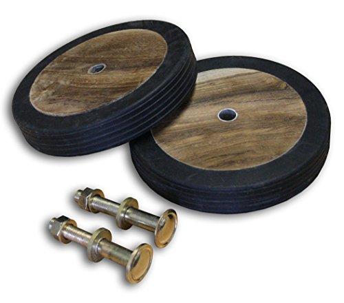 Ruedas de auténtica madera de teca y goma.  Incluye tornillos y pernos de fijación.  Aptas para sillas, hamacas y otros muebles de jardín.  Para madera de un grosor máximo de 3,5 cm   (para las medidas exactas véanse las imágenes)       -