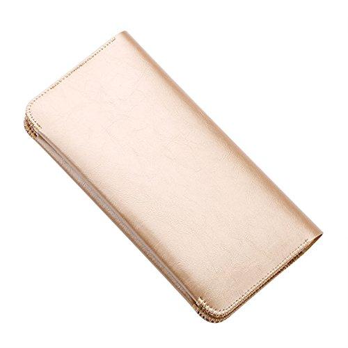 Frauen PU Leder Geldbörsen Kreditkartenhüllen Münzbörsen Personalausweishüllen Scheckbuchhüllen für iphone 6s Champagner