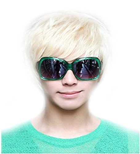 Fashion Punk Style Cool, männlich, gerade Perücke Mann Short Platinum Blonde Reis Weiß gerade Perücke