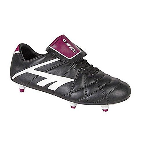 Hi-Tech League Pro - Chaussures de football ou rugby à crampons vissés - Garçon Noir/Blanc