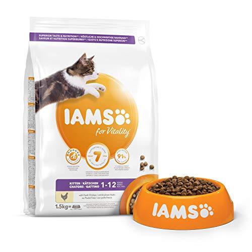 IAMS Vitality - Croquettes Super Premium Chatons - savoureuses complètes équilibrées - Favorise Croissance et Vitalité - Au poulet frais - Sans OGM colorant arôme artificiel - Sac refermable de 1,5 kg